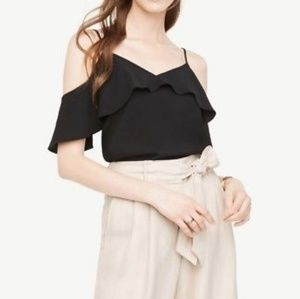 Ann Taylor Cold Shoulder Ruffle Top